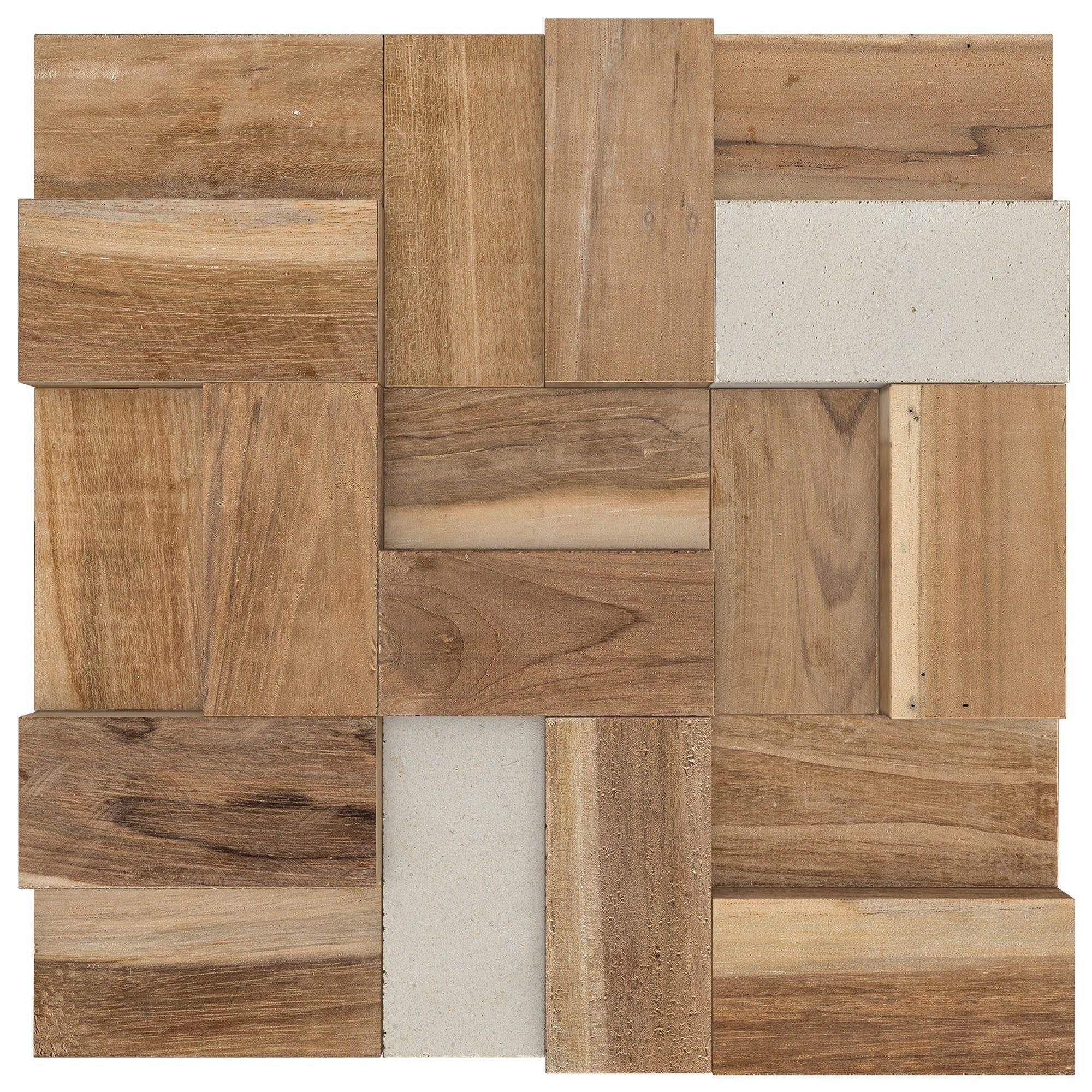 Mosaique Mur Woodstone Marron Et Blanc 5 X 9 8 Cm Mat Inter Mur