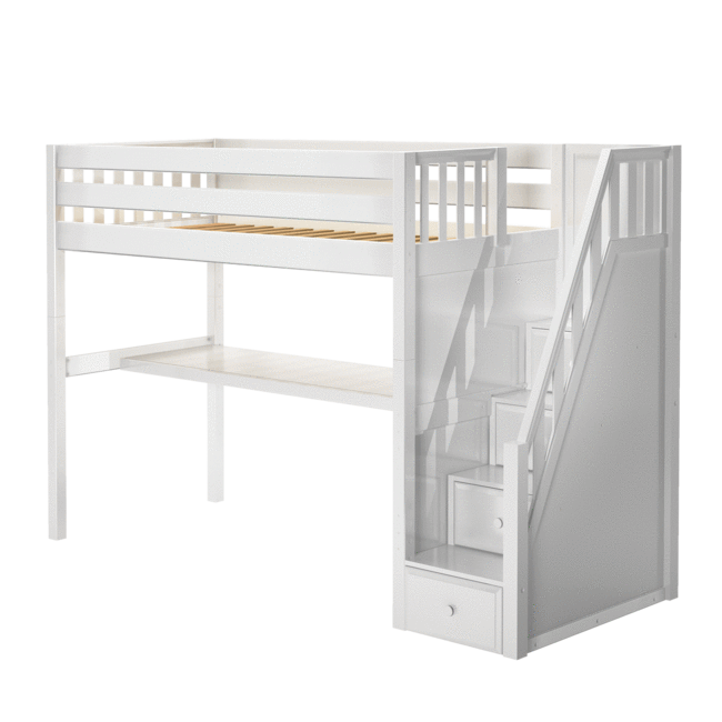 Twin XL High Loft Bed with Stairs + Desk (With images