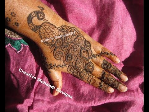 Mehndi Tattoo Peacock Feather : Youtube peacock henna mehndi design unique latest