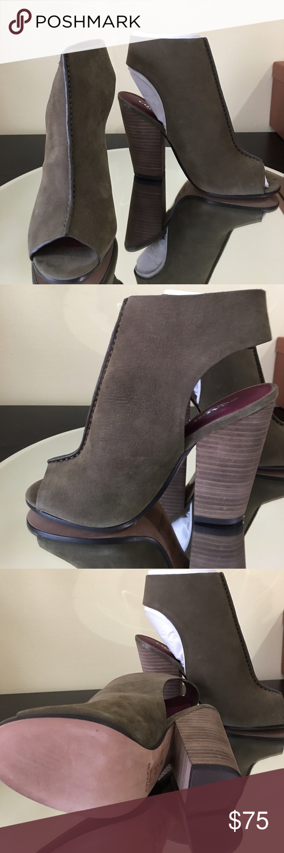 """COACH Saratoga Peep Toe Booties A chic peep-toe bootie set on a tall, blocky stacked heel. 4 1/4"""" heel (size 5.5). Adjustable strap with buckle closure. Leather upper, lining and sole. Nubuck leather Olive color By COACH  Women's Shoes. new. never worn. Coach Shoes Ankle Boots & Booties"""