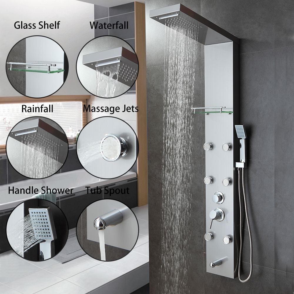 Brush Nickel Bathroom Shower Panel Rain Massage System Faucet with ...