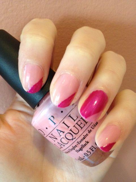 pink OPI nail art (by me!)