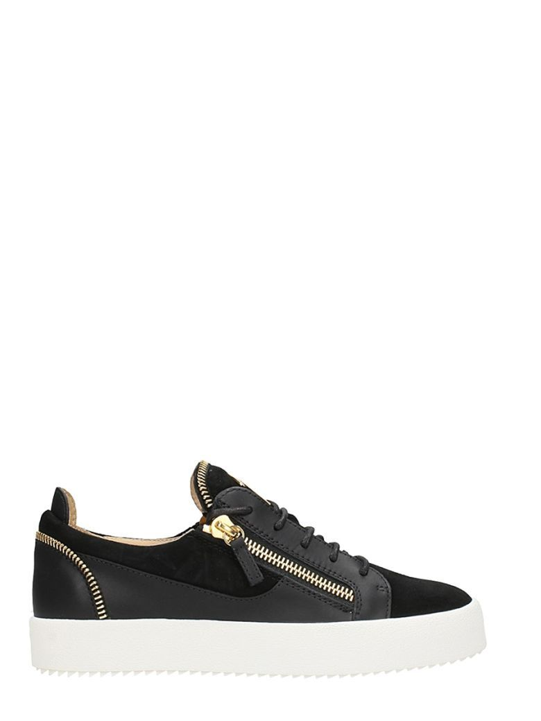 d008471da0360 GIUSEPPE ZANOTTI BLACK LEATHER AND SUEDE KIRK LOW SNEAKERS.   giuseppezanotti  shoes
