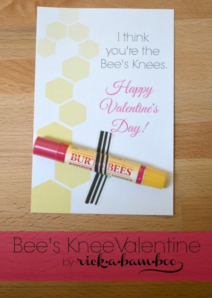 Bee S Knees Valentine Free Printable Rickabamboo Com Bees Burtsbees Valentines Printables Free Teacher Valentine Bee Valentine