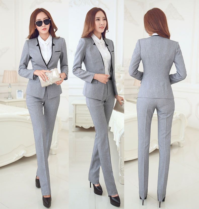 Women's Fashion Plaid Suits Off Lady Korean Slim Blazer + Jacket Pants 2pcs Sets