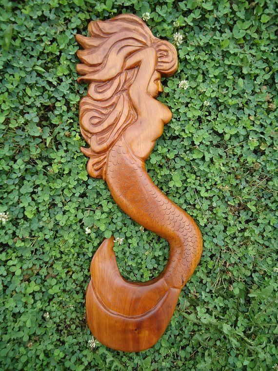 Wood Mermaid Sculpture Hand Carved Wood Mermaid Wood Carving