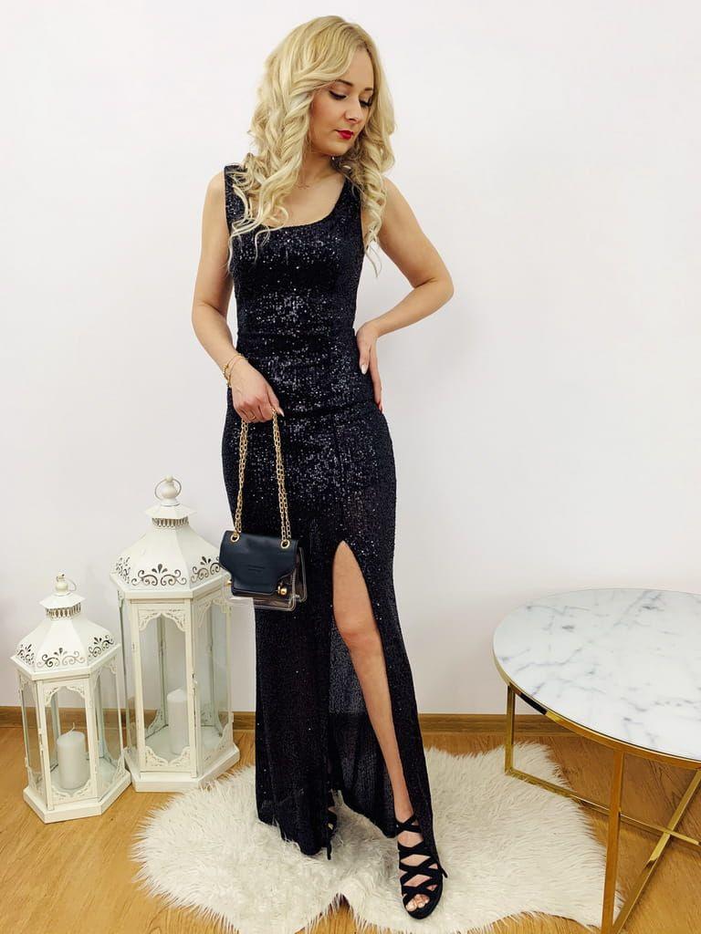 Wieczorowa Cekinowa Sukienka Maxi Czarna Dresses Fashion Formal Dresses