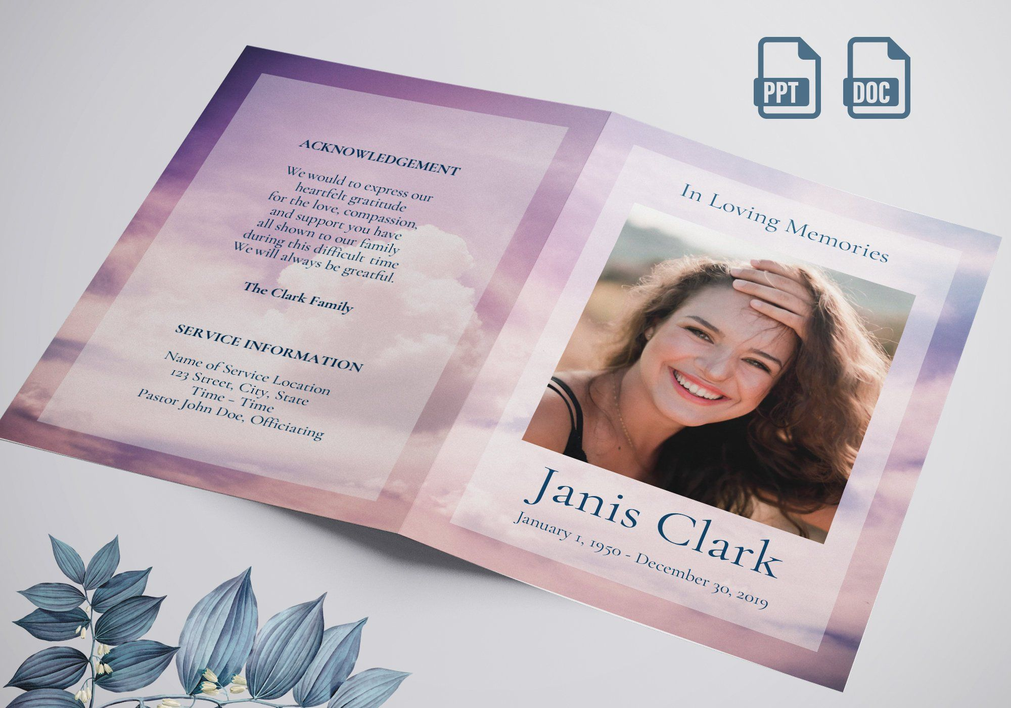 Best Printable Funeral Program Template Word Ideal For