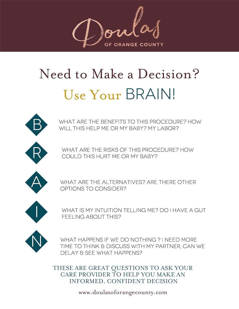 Decision Making & Using Your BRAIN Newborn care