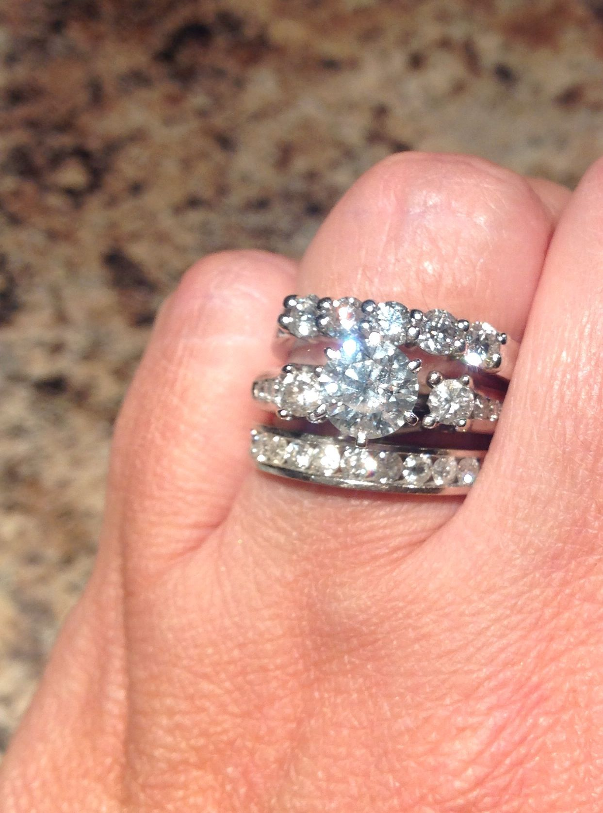 year bands jewelry n ring row anniversary pave com three diamond affinity cttw by band qvc c