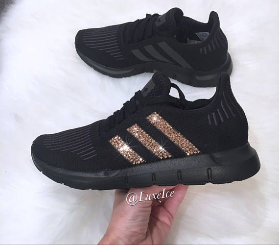 Adidas Swift Run customized with Rose Gold SWAROVSKI® Xirius Rose-Cut  Crystals. Color  Triple Black Fit  True to Size Note  This style comes in  Youth sizes ... c6e7db98a765