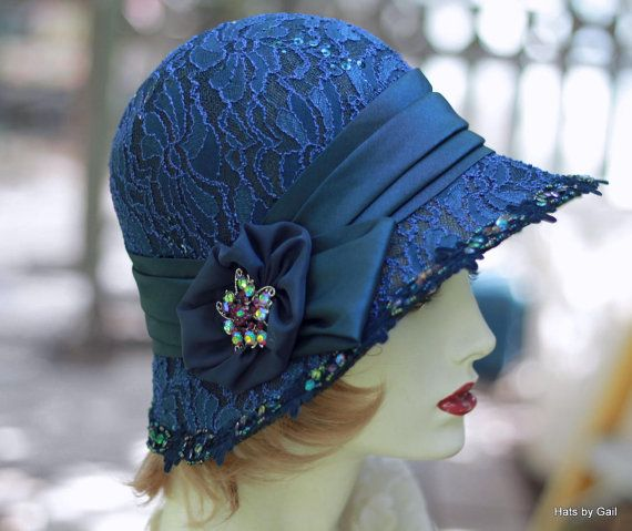 20 s Cloche Hat Evening Wedding Formal Fancy Dressy Midnight Blue with Lace  Sequins f69fb19f545