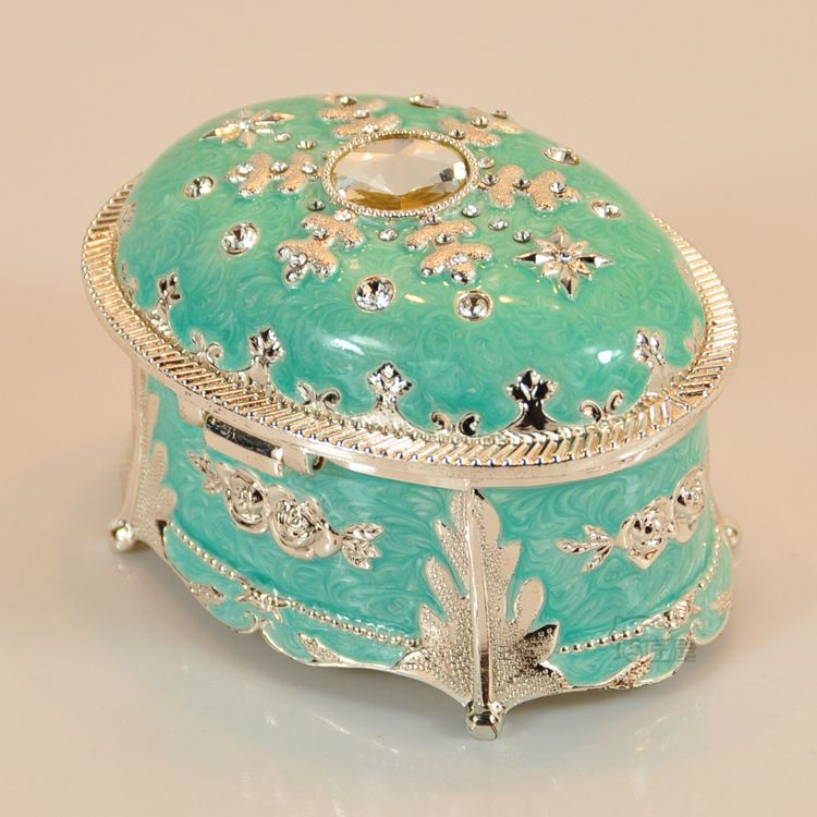 Oval shape jewelry box jewelry box music box birthday gift girls