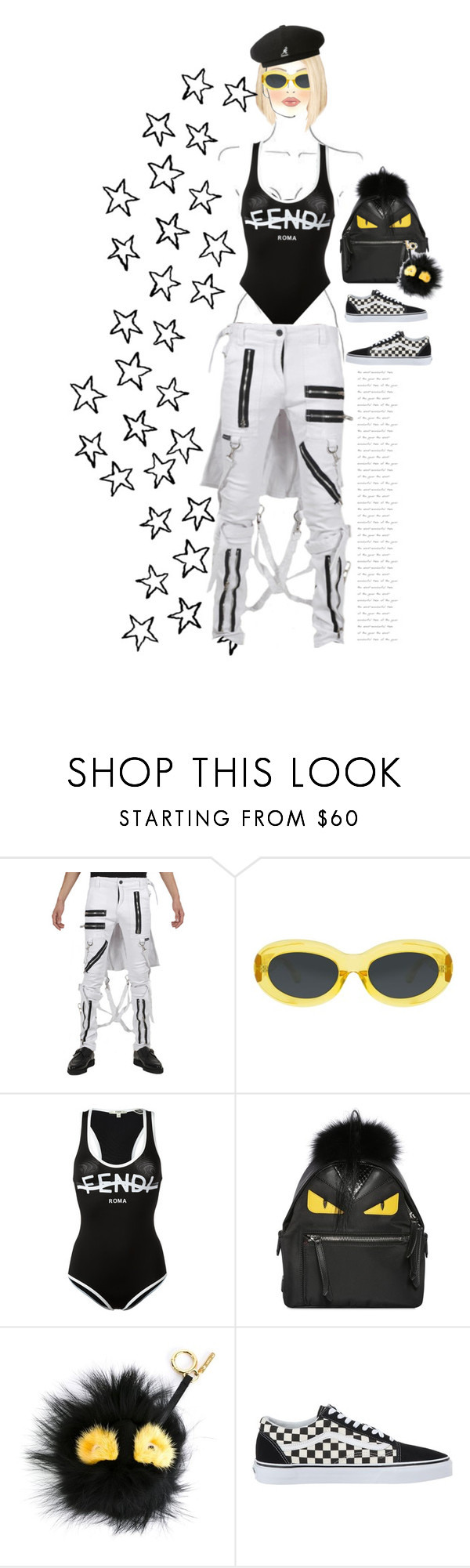 """End of the road"" by johnrefos ❤ liked on Polyvore featuring M.A.C, Tripp, Dries Van Noten, Fendi, Vans and kangol"