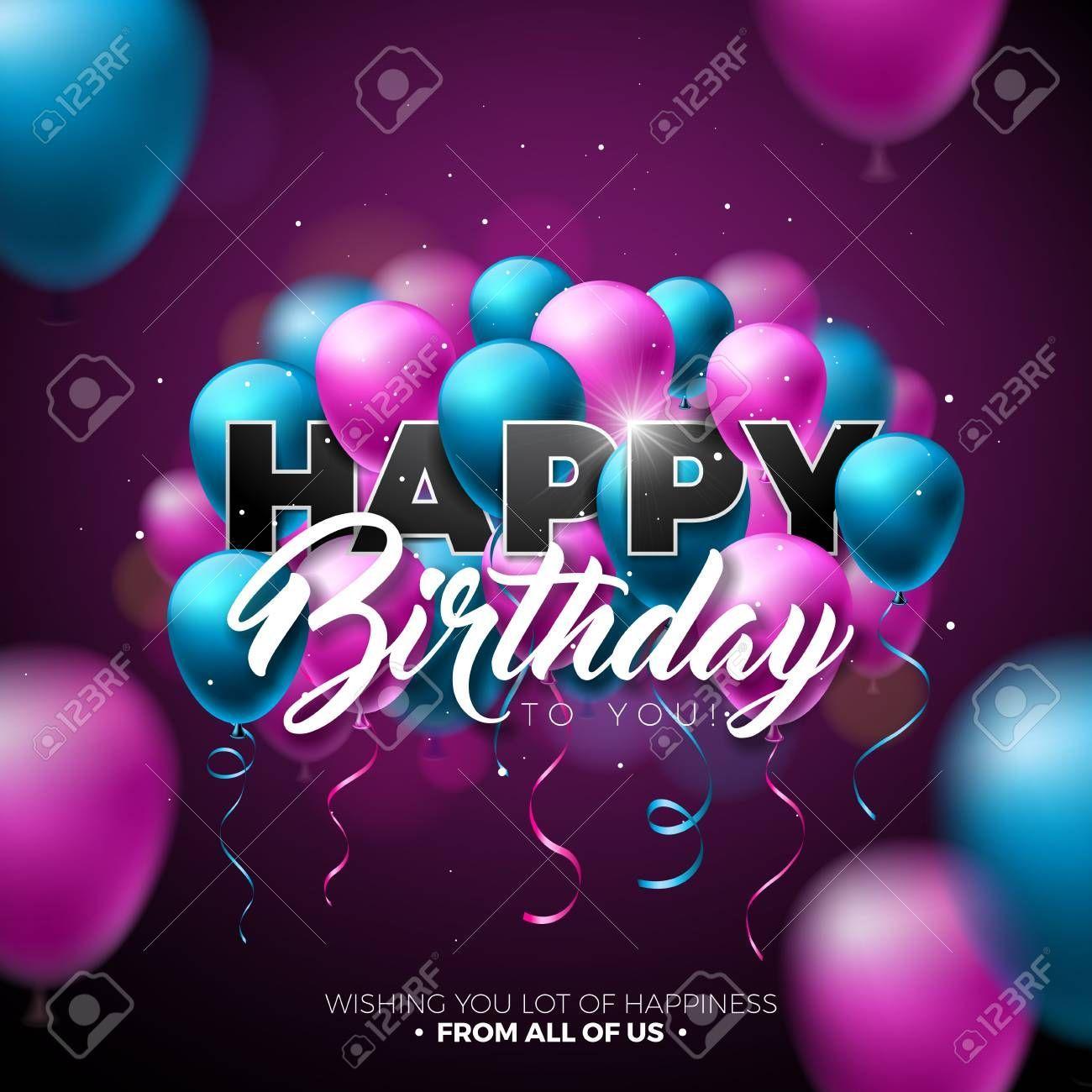 Happy Birthday Vector Design With Balloon Typography And 3d Element On Shiny Ba Happy Birthday Design Birthday Design Birthday Vector