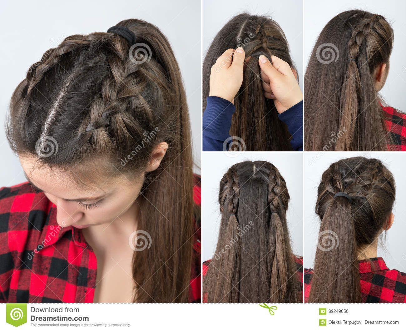 Cola De Potro Con Tutorial Del Peinado De La Trenza Foto De Archivo Braided Hairstyles Easy Braids For Long Hair Medium Hair Styles