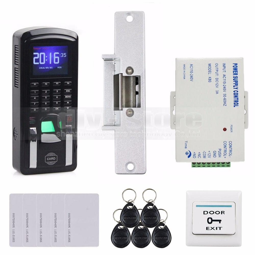 Diysecur Fingerprint 125khz Rfid Reader Password Keypad Strike Lock Door Access Control System Kit For Of Access Control Access Control System Control System