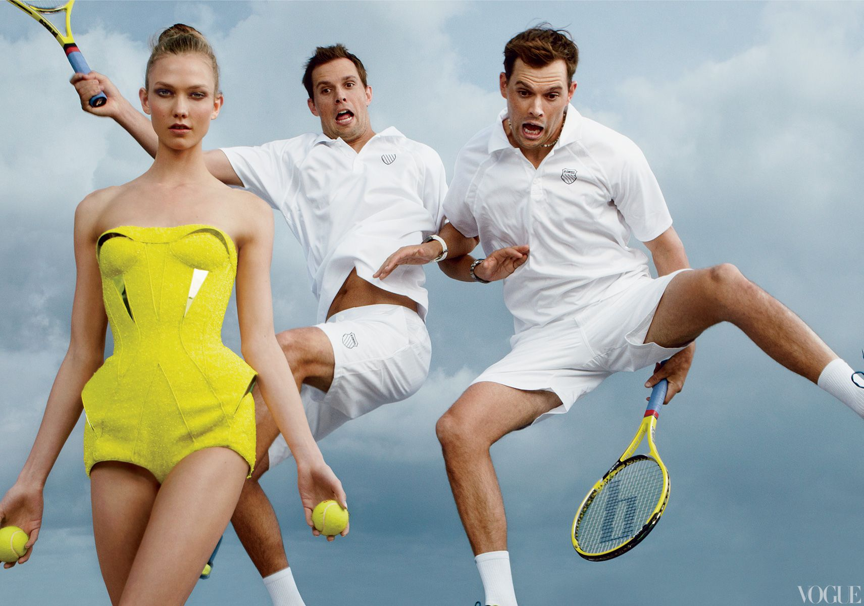 Causing A RacketThe neon shade, the fuzzy texture, the molded cups–all the hallmarks of a tennis ball itself. Atelier Versace suit with Swarovski Elements; select Versace boutiques. On the Bryans: K-Swiss polos and shorts.