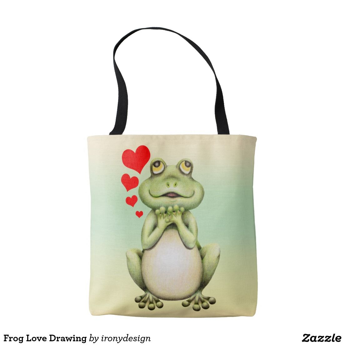 6716403e65a3 Frog Love Drawing Tote Bags