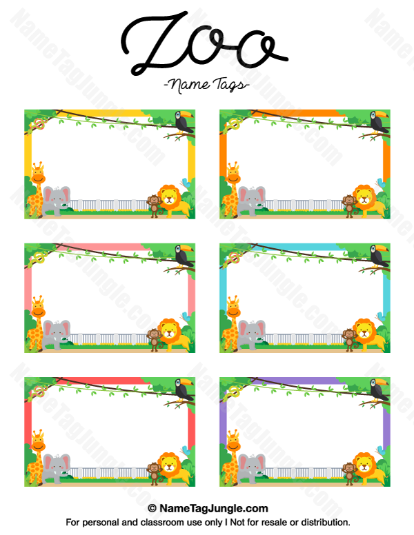 Free Printable Zoo Name Tags The Template Can Also Be Used For Creating Items Like Labels And Place Cards Download Diy Name Tags Name Tags Name Tag Templates
