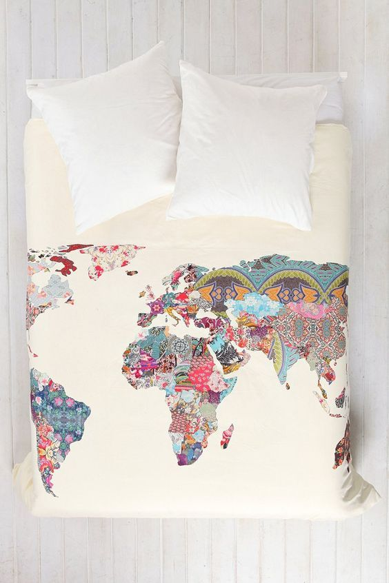 Patchwork world map duvet cover i think this is just printed on the patchwork world map duvet cover i think this is just printed on the material gumiabroncs Gallery