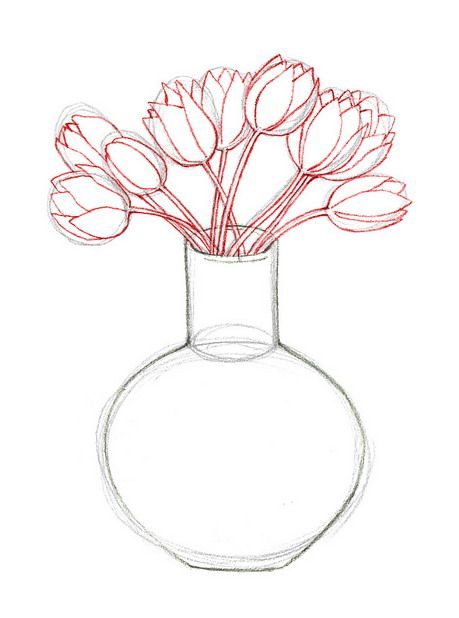 Draw Flowers In A Vase Wikihow Flower Art Pinterest Draw