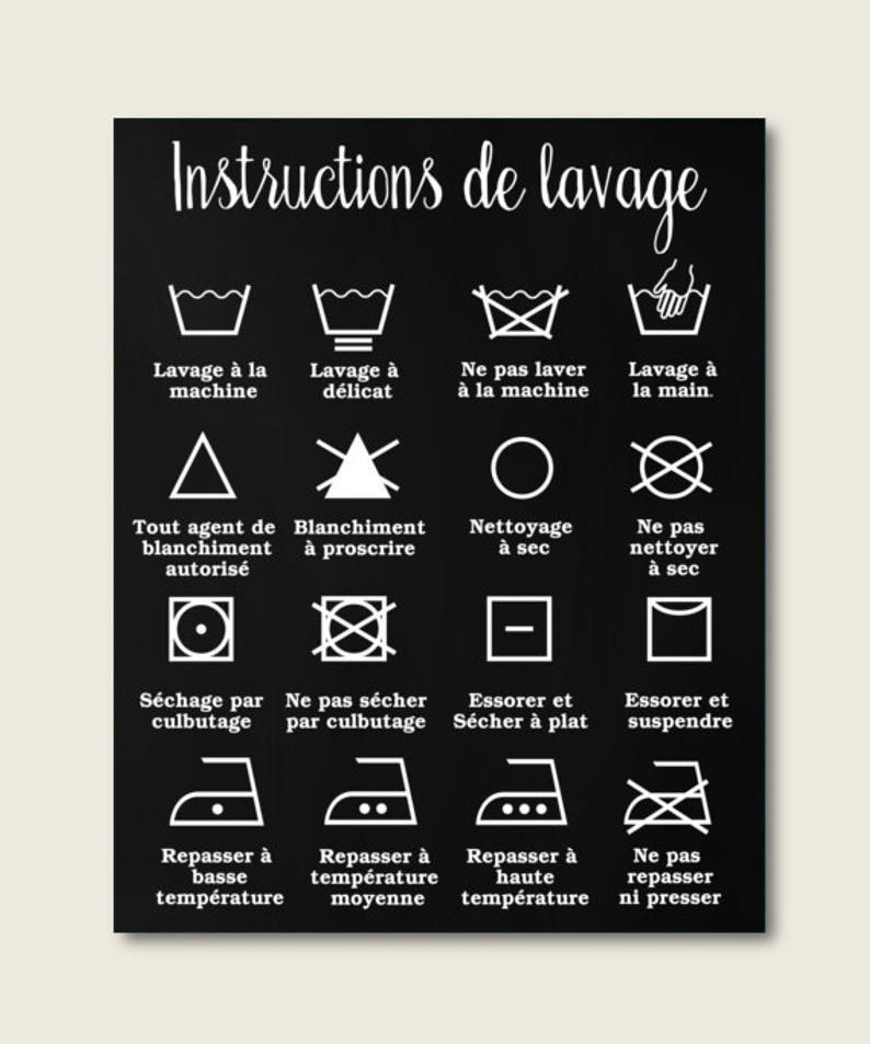 Decor Maison Decor Salle De Lavage Instructions De Lavage Etsy French Home Decor Laundry Room Decor Laundry Icons
