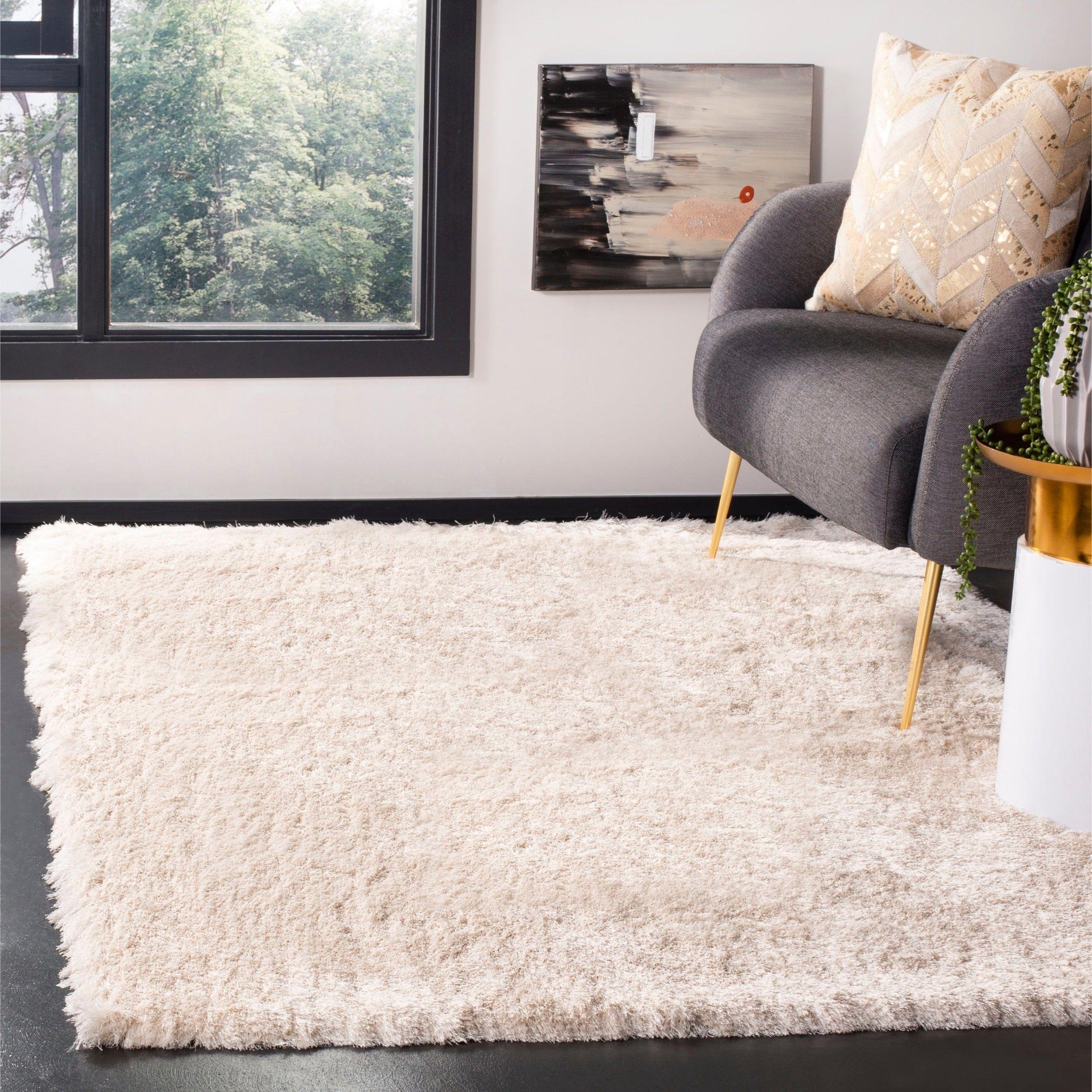Safavieh handmade silken glam paris shag ivory rug 4 x 6