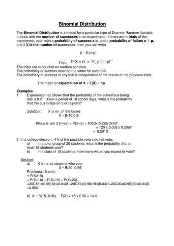 Extra Binomial Notes 1 doc | Education And Such | Binomial
