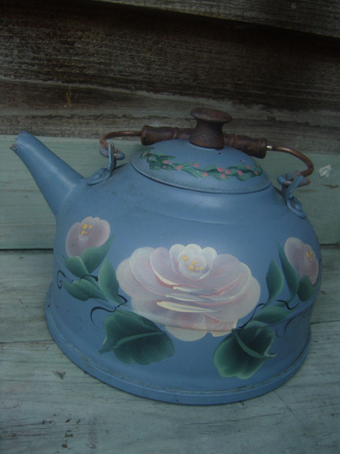 Vintage hand painted shabby chic teapot, Shabby chic tea kettle ...