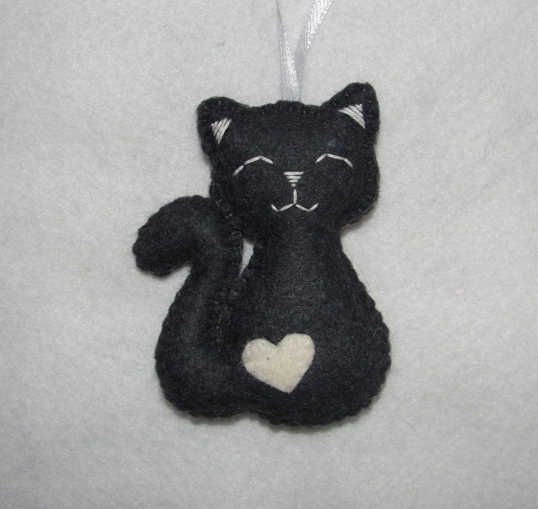 7edaa3cbce4 Cute Wool Felt Cat Ornament, Gray Cat Ornament, Decor, Birthday Gift ...