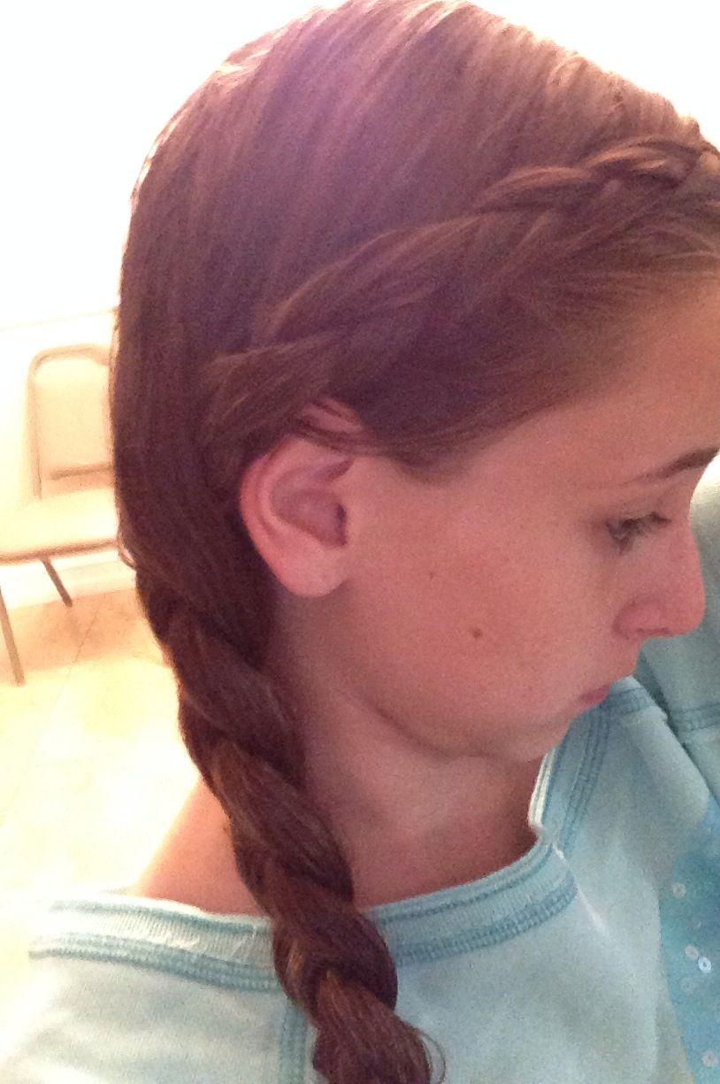 Cute teen hair style dutch french braid into normal side braid