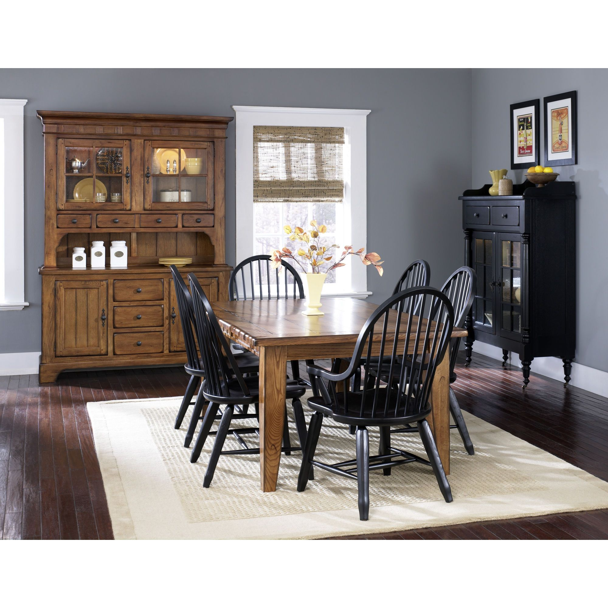 Long Dining Table Black Chairs Blue Gray Wall Color