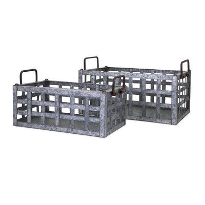 Trisha Yearwood Home Collection Honey Bee 2 Piece Galvanized Crates Set