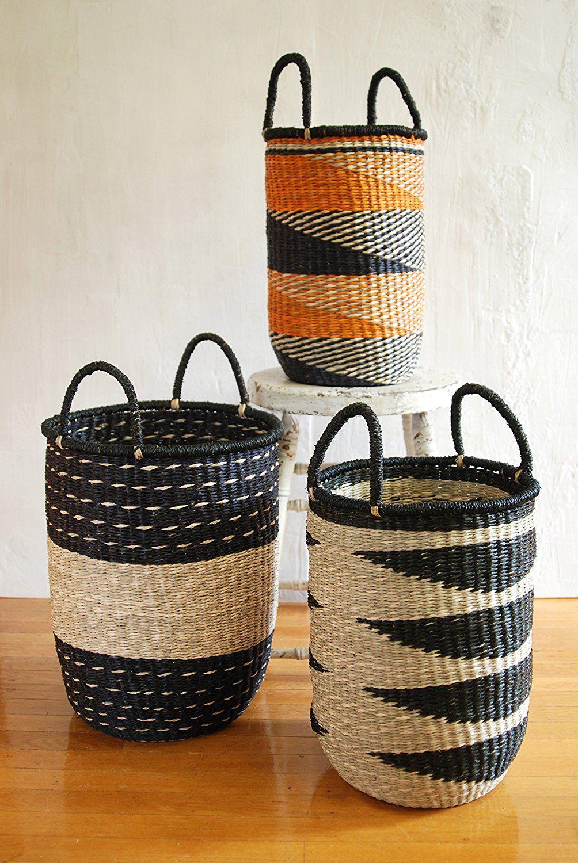Amazon Com Large 17 X13 5 X13 5 Storage Basket Tan Black To