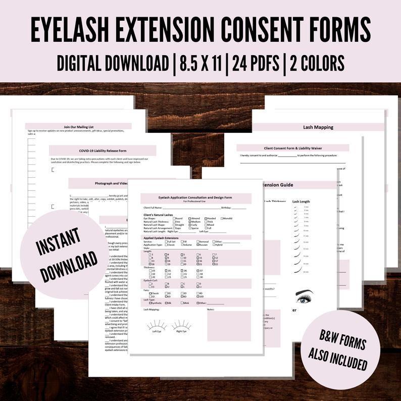 Eyelash extension consent forms lash extension consent