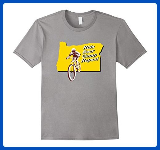 Mens Cycle Oregon Craft Beer Bike Adventure T Shirt Large Slate