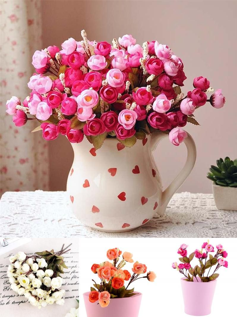 Visit To Buy 18 Red Rose Fake Artificial Flowers Cheap Camellia