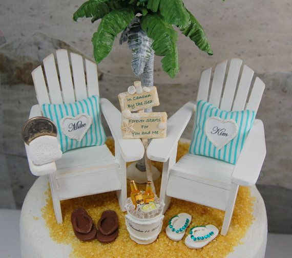 Beach Sign & Beverage Wedding Cake Topper Custom Handmade To Order, Adirondack Chairs, Artisan Palm Tree, Flip Flops, And More