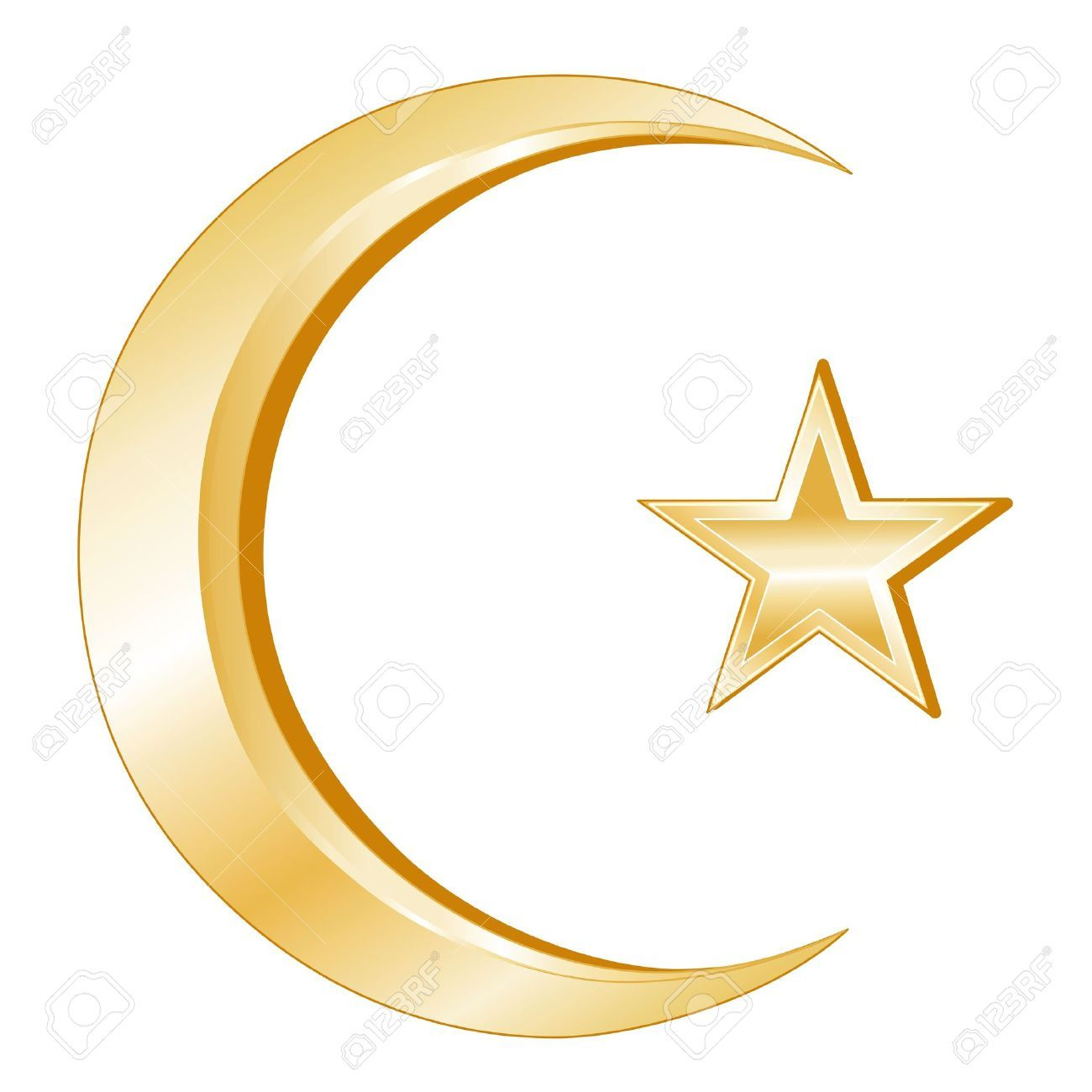 Islam Symbol. Crescent and Star, golden symbols of Islamic ...