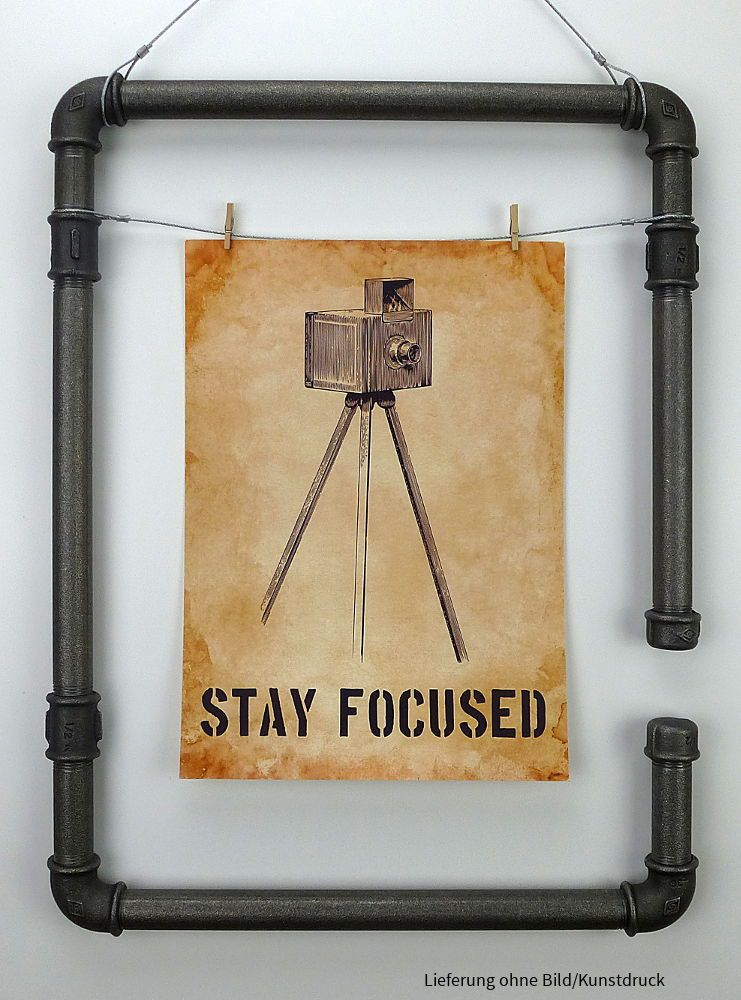 Fotorahmen No2, Industrial Pipe picture frame, Industriedesign - wohnzimmer deko online shop