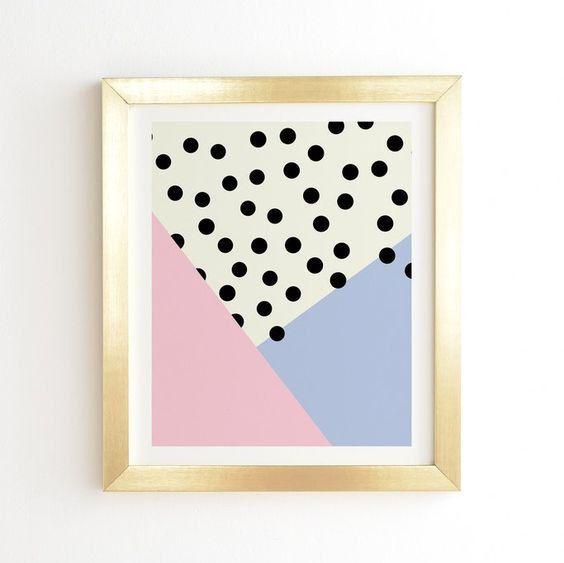 Mod rosa rosa y puntos - oro pared arte enmarcado impresión ...
