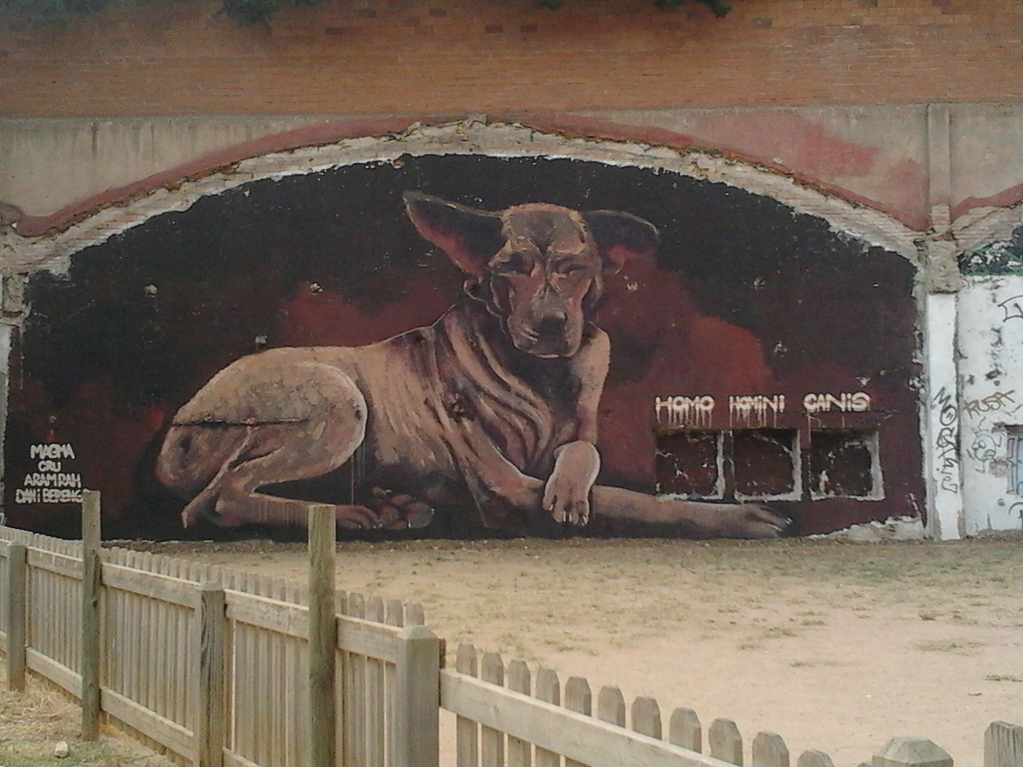 giant dog painting in a dog park...seems sensible..