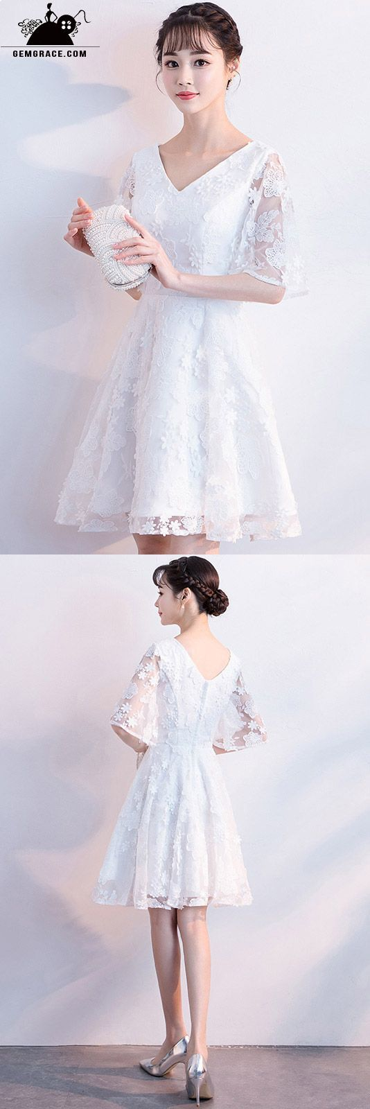 Modest vneck lace short wedding dress with illusion sleeves