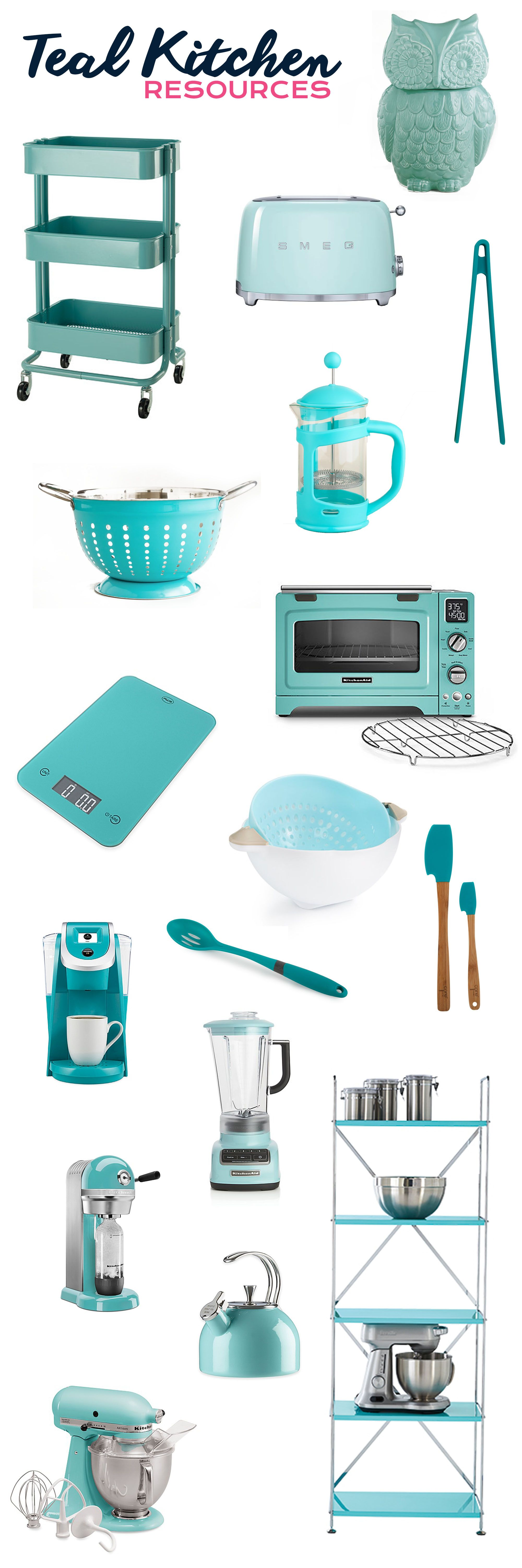 Teal Kitchen Appliances Countertop Cover My Favorite Resources For Kitchens Home Pinterest Utensils Accessories And Storage
