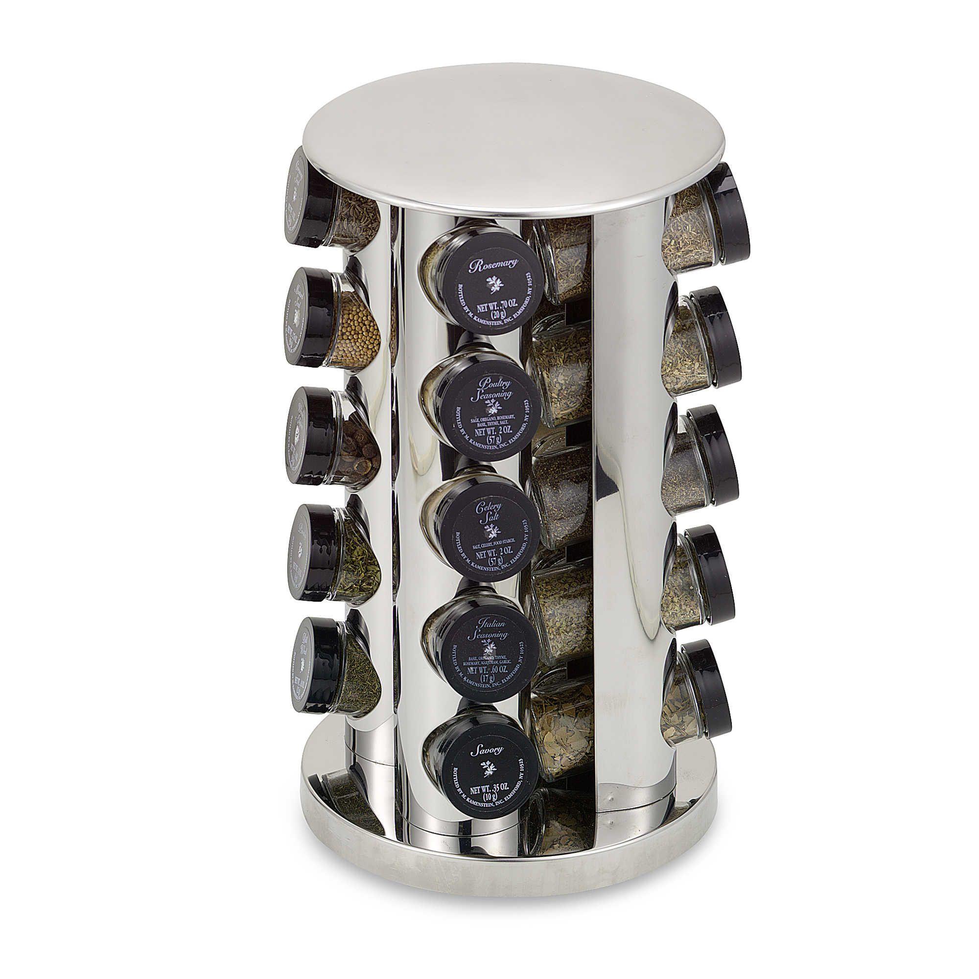 Kamenstein stainless steel 20 jar filled revolving spice rack tower