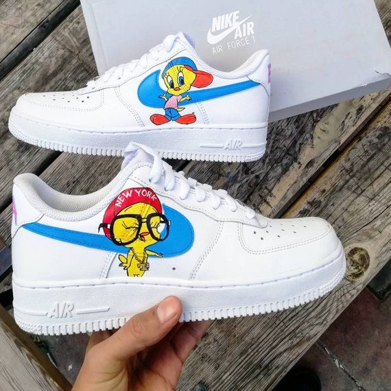 Custom Nike Air force 1, tweety,custom sneakers , custom