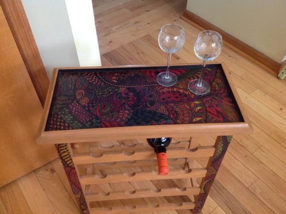Unique and funky Teak wine rack hand painted by FrankieAndZip