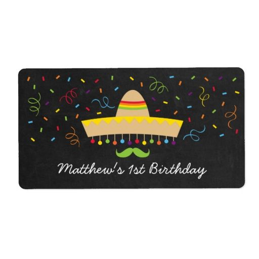Fiesta Chalkboard Water Bottle Labels