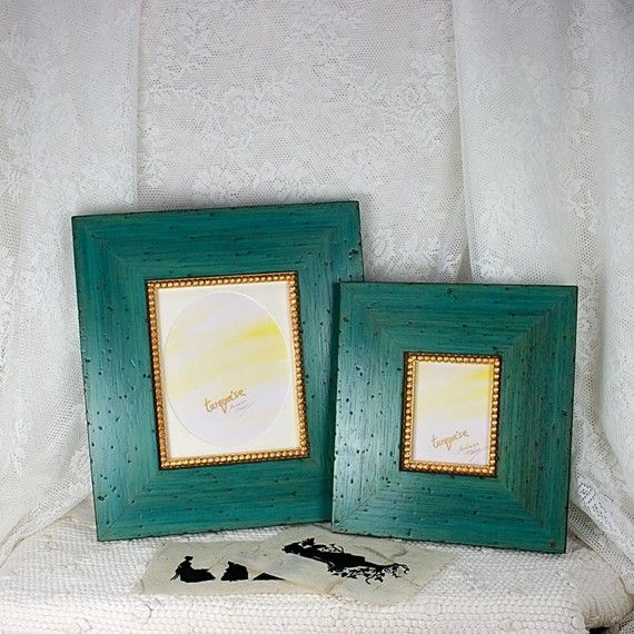 Turquoise Frame with an Oval Mat for a 4x5 by mackenzieframes, $43.00